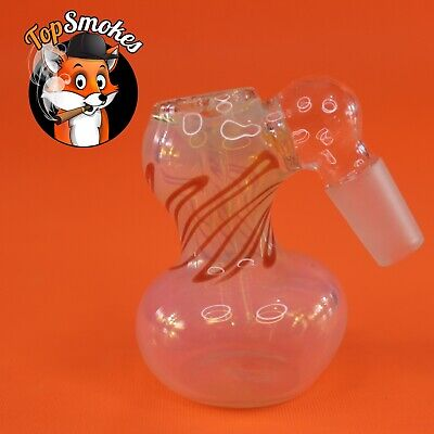 14mm Thick Glass Ash Catcher Red Stripe USA Hookah Tobacco Water Hand Pipe Bowl