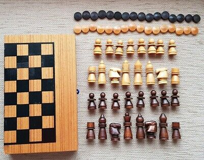 Wooden Folding Board Chess/Draughts/Backgammon Game Set