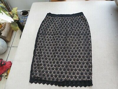 Boden stunning black lace skirt with nude under layer ribbon top 10 quality