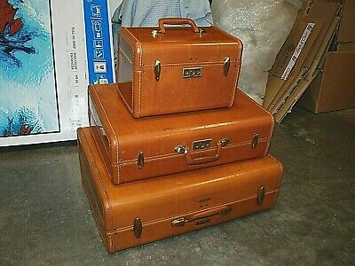SAMSONITE Streamlite Shwayder Bros Luggage Travel Suitcases Caramel 1950's 3 Lot