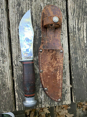 Vintage Case USA Fixed Blade Hunting Knife with Sheath 8.5""