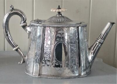 Elegant Antique Alfred Browett Silver Plated Beautifully Engraved Teapot C 1870+