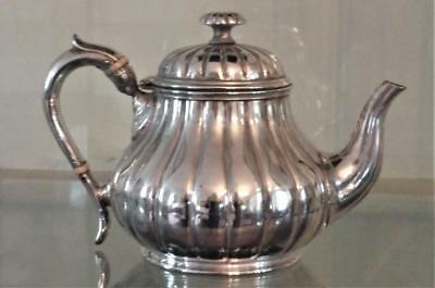 Fine Antique Barker Bros Silver Plated Melon Shaped Tea Pot C 1850_