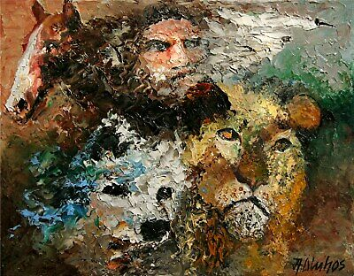 ANDRE DLUHOS ORIGINAL OIL PAINTING Zeus Greek God Ancient Mythology Animals