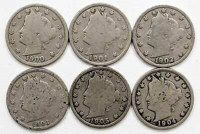 "Lot of 6 Liberty ""V"" Nickels - 5c Copper-Nickel - 1900-1905 Date Run - Good"
