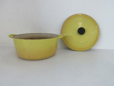 Le Creuset 28 Round Dutch Oven w/ Lid Yellow Enamel Cast Iron Made In France