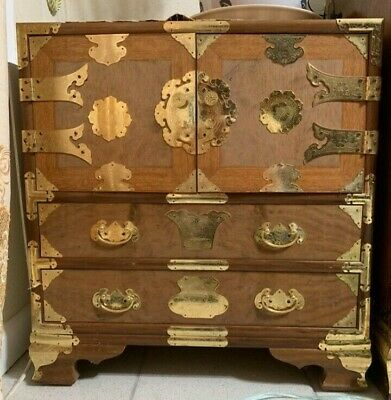 Antique Asian Wood Cabinet with Six Drawers and Gold Detailed Corners & Handles