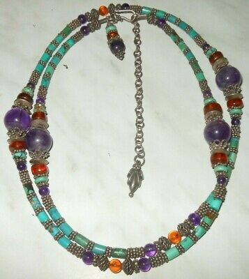 Early 20th century EXTRA chinese necklace turquoise amethyst amber silver!