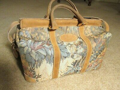 "Vintage FRENCH CO. ""Paradise"" Tapestry & Suede  Luggage -Cosmetic/Train Case"