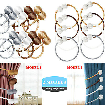 Window Curtain Magnetic Tie Backs Buckle Ball Holder Rope Clips Tieback Home 2Pc