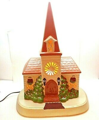 "Vtg 19.5"" Tall Ceramic Peg Light Up Church Religious Table Top Christmas"