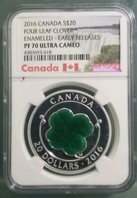 Canada - 2016 $20 Four Leaf Clover Green Enamled NGC PF70 UC Early Releases