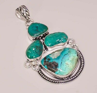 Natural Azurite Malachite Antique Look  925 Sterling Silver Plated Pendant