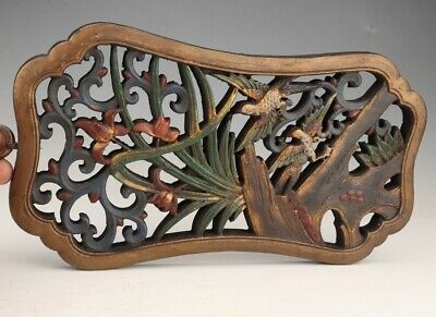 Retro Chinese Wood Plate Pendant Hand-Carved Bird Flower Home Decoration Craft