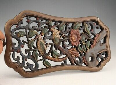 Rare Chinese Wood Plate Pendant Hand-Carved Bird Flower Home Decoration Craft