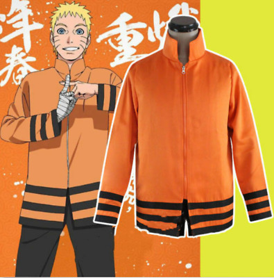 Anime Naruto Seventh Hokage Hoodies Jacket Anime Uzumaki Coat Cosplay Costume
