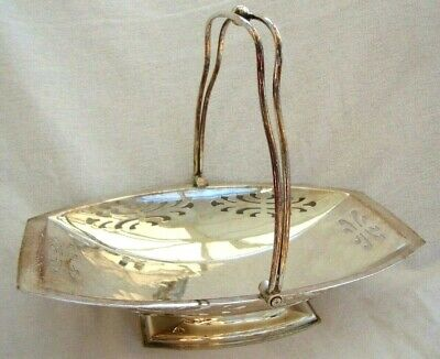 Antique English Silver Plate Epns Table Cake Basket Bowl Pedestal Swing Handle