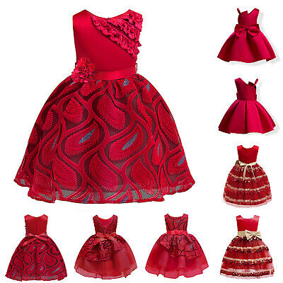 Prom Girls Princess Bridesmaid Party Wedding Sleeveless Tutu Dress Bowknots Red