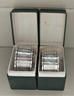 Pair of Boxed Art Deco Sterling Silver Engine Turned Napkin Rings 21 gms C 1926