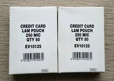 2x Credit Card Laminating Pouches (50 Pack) 250 MIC *NEW*