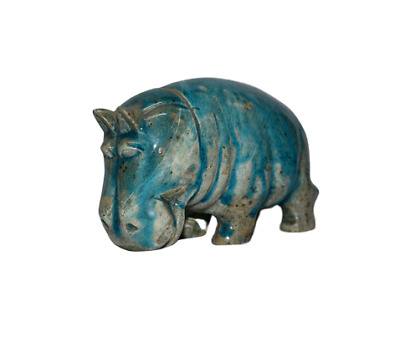 ANCIENT EGYPT ANTIQUE Egyptian blue glazed faience Hippo statue