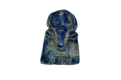 ANCIENT EGYPT ANTIQUE Egyptian blue glazed faience khnum statue