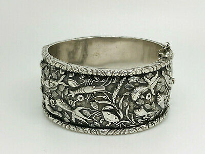 Superb Antique Chinese Export CHIENAM Sterling Silver Sealife Bangle Bracelet