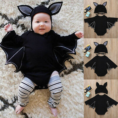 Newborn Baby Boy Girls Romper Jumpsuit Hat Outfits Halloween Cosplay Costume KH