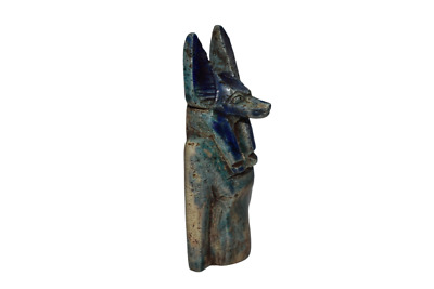 ANCIENT EGYPT ANTIQUE Egyptian glazed blue faience Anubis statue