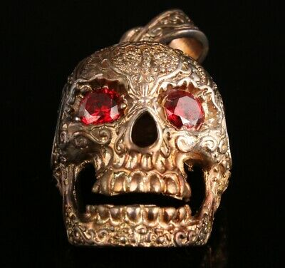 Antique Chinese Silver-Plated Pendant Skull Statue Exorcism Collection Gift