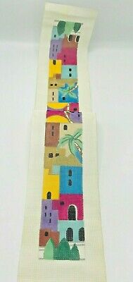 Hand Painted Needlepoint Pattern Canvas Israel Buildings Colorful Long Jerusalem