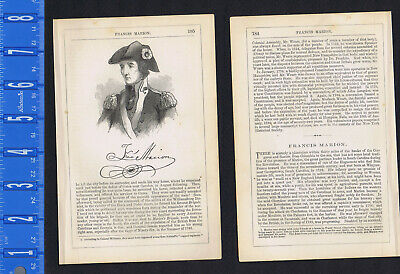 Franis Marion, Swamp Fox, American Revolution - 1855 Page of History w/ Portrait