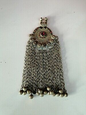 Rare Antique Handmade Ethnic Turkmen Heritage Old Silver Pendant Necklace