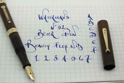 WATERMAN'S BCHR No52, SOLID 9CT GOLD BARREL BANDS. FLEX NIB, c1920's.