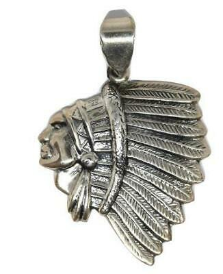 Native American Navajo Indian Sterling Silver Chief Pendant