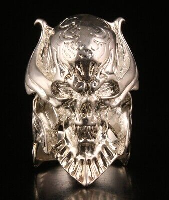 Chinese Silver Plated Hand Carved Evil Ghost Head Ring Cool Gift Collection Old