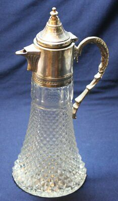 Vintage Wine Water Pressed Glass Diamond Decanter Carafe Pitcher Silver Plated