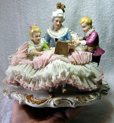 Large Exceptional Dresden volkstedt German Porcelain Lace Figurine Woman Reading
