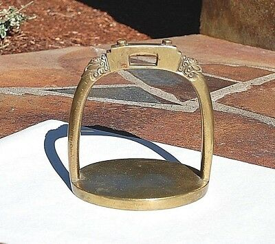 Brass Horse Saddle Stirrup Moroccan Tack Door Stop Amelia Earhart  Antique 1930
