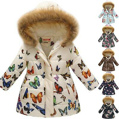 Kids Girls Floral Hooded Padded Warm Jacket Fur Winter Parka Coats Outerwear