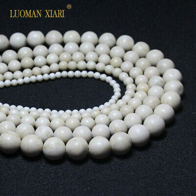Wholesale Natural white Fossils Round Loose Stone Beads For Jewelry Making DIY