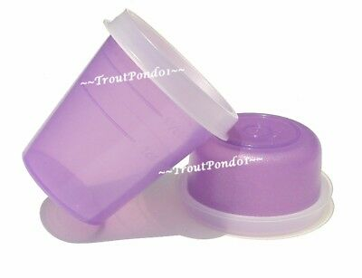 TUPPERWARE Midget Smidgets Mini Bowls 2 Ounce and 1 Oz Sheer Purple Set 2 New