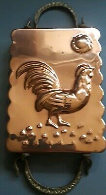 Antique Rectangle Tin-Lined Copper Rooster Mold with Ornate Brass Handles.