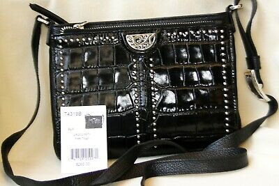 NWT Brighton Pretty Tough Black Croc Leather Organizer Crossbody Bag Purse $265