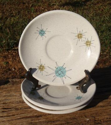 "Mid Century SET of 3 Franciscan STARBURST Atomic Pottery 6"" SAUCERS ONLY Mint NR"