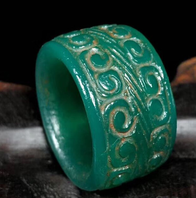 China Ancient collection natural Old agate Hand carved green Ruyi Ring