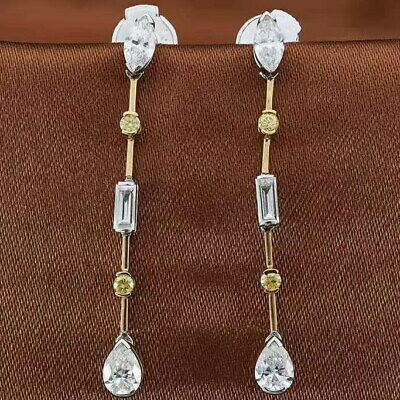 1Ct 100%Natural Diamond 14K White Gold Water Drop Cocktail Earrings WE125-1