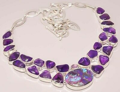 African Amethyst Turquoise Jewelry 925 Sterling Silver Plated Necklace