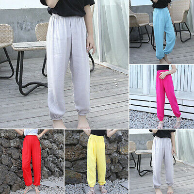 Children Kids Baggy Sports Yoga Bottom Pants Elastic Waist Loose Harem Trousers