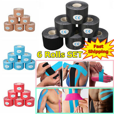6 Rollers 5m Kinesiology Tape   Sports Physio Knee Shoulder Body Muscle Support